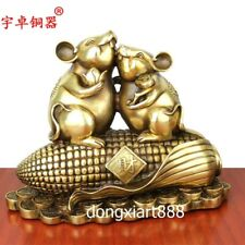 31cm Pure Brass Indian corn Chinese Zodiac Animal Rat Mouse Wealth Amulet Statue