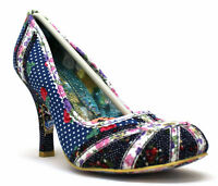 NEW IRREGULAR CHOICE *PATTY* NAVY FLORAL(S) UNION JACK HEART FLORAL HEELS-UK 5-8