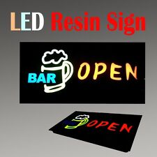"Lighted Led Resin Window Sign Bar Open Cocktail Non Neon Display 17"" x 9"""