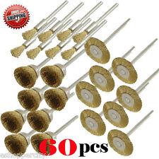 "60 Rotary Brass Wire Brush Dremel for 443 442 428 1/8"" Shank Polishing Tool Skil"