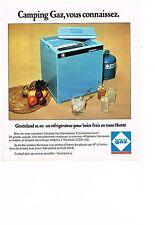 PUBLICITE  1975    CAMPING GAZ  le réfrigérateur GROENLAND