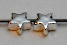 2 TINY SMALL STERLING SILVER STAR SPACER BEADS, 5 MM