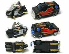 1981 Ideal Toy Corp HO Scale Slot Car CHiPs Police PAIR Motorcycle & Speeder Van