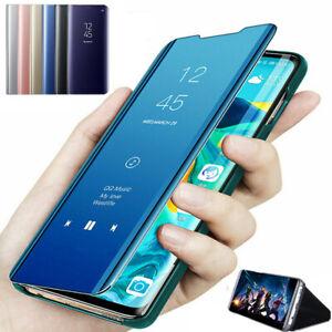 Für Samsung Galaxy S7 S8 S9 S10 Clear View Cover Flip Case Tasche Handy Hülle
