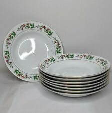 """Set of 8 GIBSON Christmas Delight 8"""" Soup Bowls Gold Trim Holly Berries Vintage"""