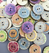 DIY 50X Retro Wooden Printing Round Buttons Scrapbooking decoration Sewing 20mm