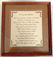 To My Other Mother Framed Finished Cross Stitch Mother-in-law Mother's Day