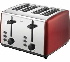 LOGIK L04TR19 4-Slice Toaster - Red & Silver - Currys
