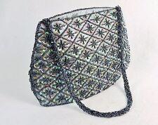 Small Purse/Hand Bag ~ Gray Beads & Green Sequins on Light Gray Fabric, #CHBP18