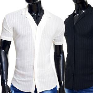 Men Spread Collar Shirt Ecru Ivory Black Stretchy Rib Knit Striped Short Sleeve