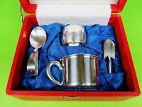 Sterling Silver (950) Baby Feeding Set W Cups, Spoon, Napkin ring & Measur Scoop