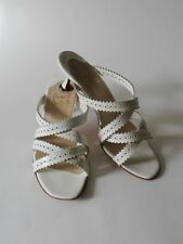 CHRISTIAN LOUBOUTIN White Leather Open Work Slides Sandals Size 37