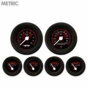6 Gauge Set Speedo Tach Oil Temp Fuel Volt Ghost Flame Black Red White LED 043WC