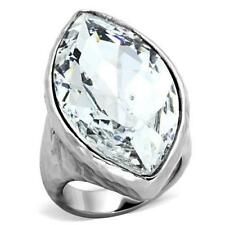 1368 BIG SHOWSTOPPER MARQUISE SIMULATED DIAMOND RING STAINLESS STEEL NO TARNI