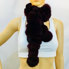 EXPRESS scarf, rabbit fur, ball connect, black, one size