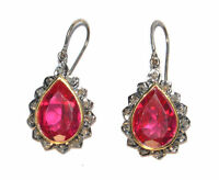 Victorian 1.00 Ct Rose Cut Diamond And ruby 925% Sterling Silver Earrings