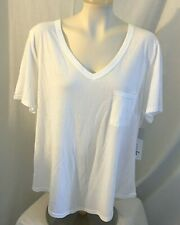 Just Be Womens White V Neck Pocket T Shirt Top Plus Size 2X Cotton Blend