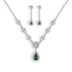 White Gold Finish Green Emerald And Created Diamond Tear Drop Dangle set
