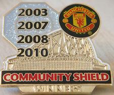 MANCHESTER UNITED Victory Pins 4Times COMMUNITY SHIELD WINNER Badge Danbury Mint