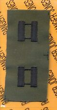 US ARMY Captain CPT 0-3 OD Green & Black rank patch set