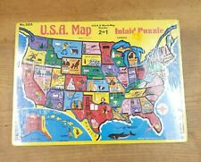 Vintage Sealed USA & World Map  2 Sided Inlaid Puzzle Warren Paper products