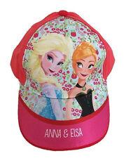 OFFICIAL FROZEN Anna & Elsa Girls Pink Baseball Peaked Cap Sun Hat 2-6 Years NEW