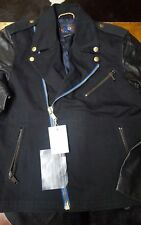 NEW $1500 MARC JACOBS LEATHER CANVAS MOTO perfecto jacket M 38 40 MADE IN ITALY