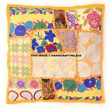 """Cushion Covers 16""""x16"""" Indian Heavy Embroidery Sari Patchwork Square Ethinic Zip"""