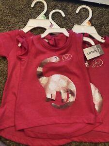NWT Baby Girls Pink Dinosaur Shirt Sequin, Carters Super Cute!!