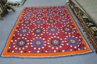 "Antique Vintage Uzbek Suzani Hand Embroidery 70"" x 85"" Coverlet Tablecloth panel"