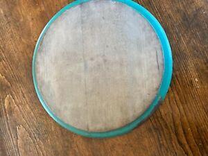 "Vintage Primitive Round Wooden Cutting Board - Green Painted Rim - 13"" Diameter"