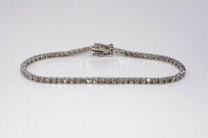 $8,000 3.30CT NATURAL ROUND CUT DIAMOND TENNIS BRACELET 14K WHITE GOLD