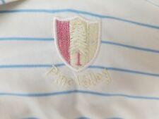 Dunning Golf Men's S/S White Blue Stripe PINE VALLEY LOGO Athletic Shirt Sz L