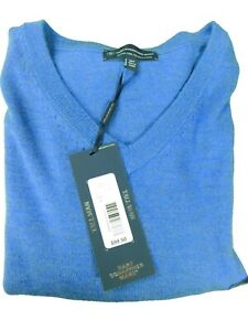 Hart Shaffner Marx Extra Fine Merino Wool V-Neck LS Men Sweater Denim Blue 2XT