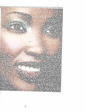 Unframed Art Poster Face Made out of Words (m114)