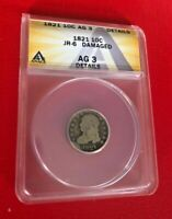 1821 Capped Bust Dime10 Cents Early Silver Coin JR6 ANACS AG 3 DETAILS