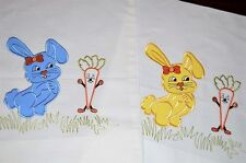 GIRLY BUNNY & TALKING CARROT! VTG GERMAN PILLOW SHAM KIDS PILLOWCASE LOT OF 2
