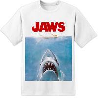 Mens JAWS MOVIE POSTER T SHIRT / RETRO HUGE HIGH QUALITY PRINT ORCA QUINTS FISH