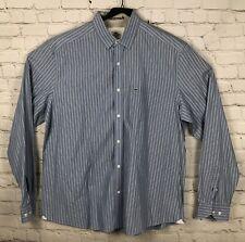 Lacoste Mens Size 44 (XL) Shirt, Cotton Button-up Blue White Striped Slim Fit