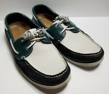 Rockport Men's Seaforthe Boat Shoe White/Navy/Teal Size 11.5 M Leather