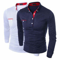 Mens Luxury Formal Long Sleeve Slim Fit T-shirt Casual Shirt Stylish Dress Tops