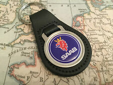 SAAB Qualität schwarz, echtes Leder Schlüsselanhänger