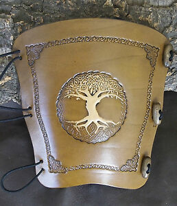 Embossed 2 tone Tree Of Life (n) leather archery arm guard,bracer,armguard,larp