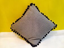 """14"""" Black & White Gingham/Check Cushion with Bobble/Pom Pom Trim & Feather Pad"""