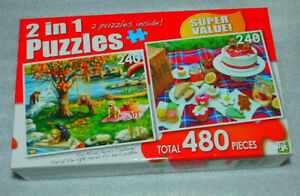First Fall Cupcake Picnic Jigsaw Puzzle 240 Puppy Picnic Lake Swan Teddy Bear