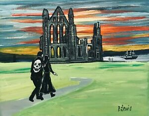 """PHIL LEWIS- SUNSET WALK AT WHITBY ABBEY AT HALLOWEEN- 8x10"""" 25x20cm Northern Art"""