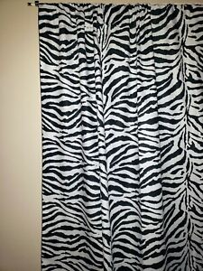"""Cotton Zebra Print Curtain Panel 58"""" Wide Stage/Photography Backdrop"""