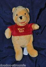 Peluche Doudou Winnie DISNEY NICOTOY Ours Jaune Tee Shirt Rouge 19 Cm Etat NEUF