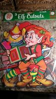 3 Vintage 1985 BEISTLE (NO. 22444) 14 INCH  ELF CUTOUTS CHRISTMAS SEALED NOS!