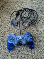 PlayStation 2 Clear Ocean Blue Dualshock 2 Wired Controller Tested PS2 OEM RARE